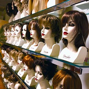 The wig room at American Hairlines, Bethlehem